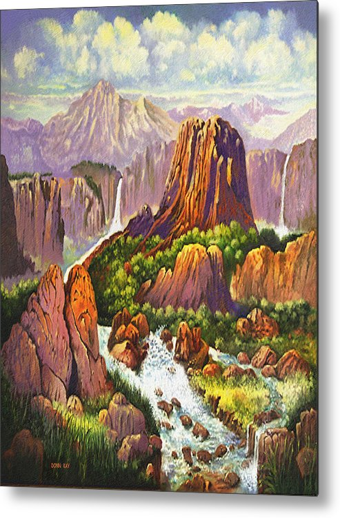 Arizona New Mexico Waterfalls Rocks Danger Mountains Giclee Prints Metal Print featuring the painting Southwest Mountain Floodwaters by Donn Kay
