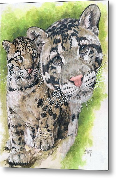 Clouded Leopard Metal Print featuring the mixed media Sovereignty by Barbara Keith