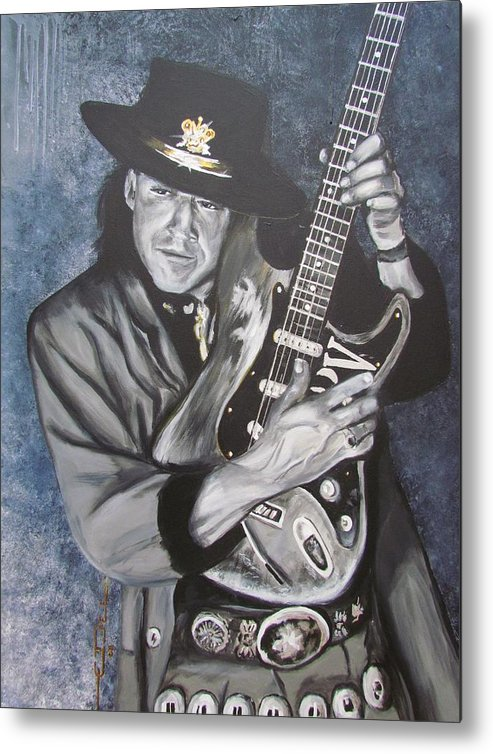 Stevie Ray Vaughan Metal Print featuring the painting Srv - Stevie Ray Vaughan by Eric Dee
