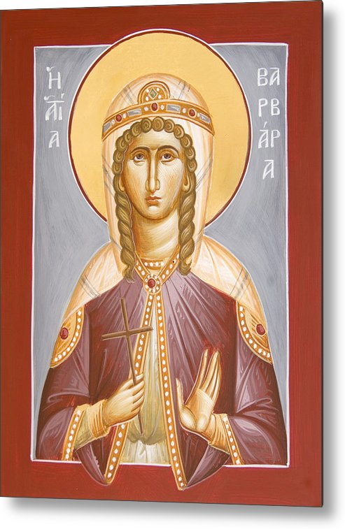 St Barbara Metal Print featuring the painting St Barbara by Julia Bridget Hayes