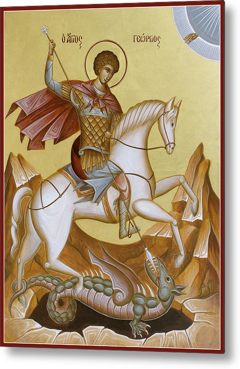 Icon Metal Print featuring the painting St George by Julia Bridget Hayes