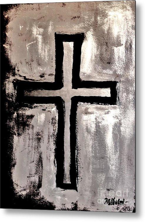 Cross Metal Print featuring the painting Stunningly Beautiful by Marsha Heiken