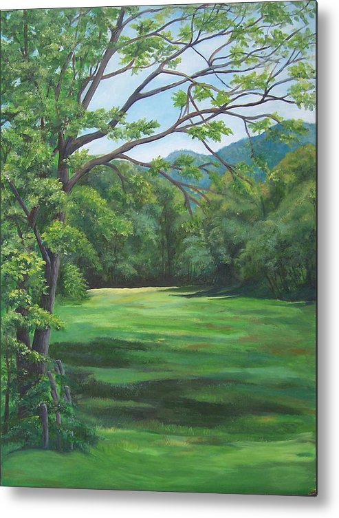 Landscape Metal Print featuring the painting Summer Meadow by Audrie Sumner