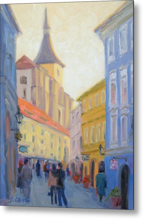 Prague Metal Print featuring the painting Sunday Stroll - Prague by Bunny Oliver