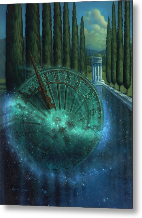 Sundial Metal Print featuring the painting Sundial Of Antiquity by Brigit Byron Coons