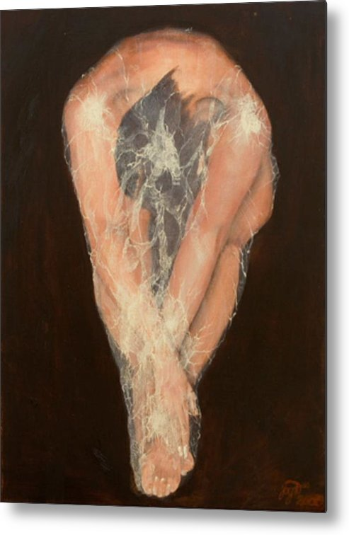 Figurative Metal Print featuring the painting The Chrysalis by Jane Simpson