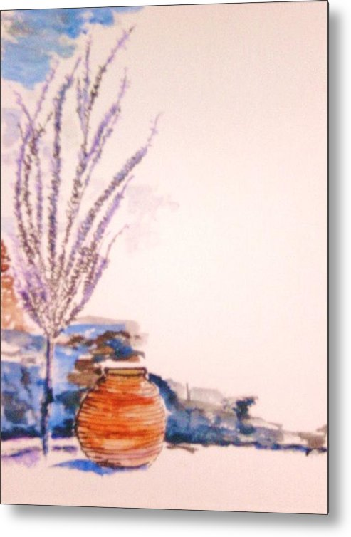 Urn Metal Print featuring the painting The Forgotten Urn by Helena Bebirian