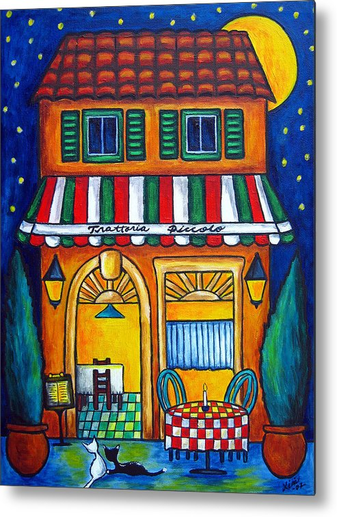 Blue Metal Print featuring the painting The Little Trattoria by Lisa Lorenz