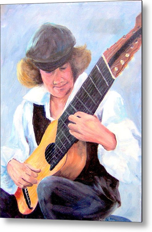 Portrait Metal Print featuring the painting The Musician by Lorna Skeie