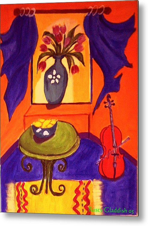 Cello Metal Print featuring the painting The Red Cello by Rusty Woodward Gladdish