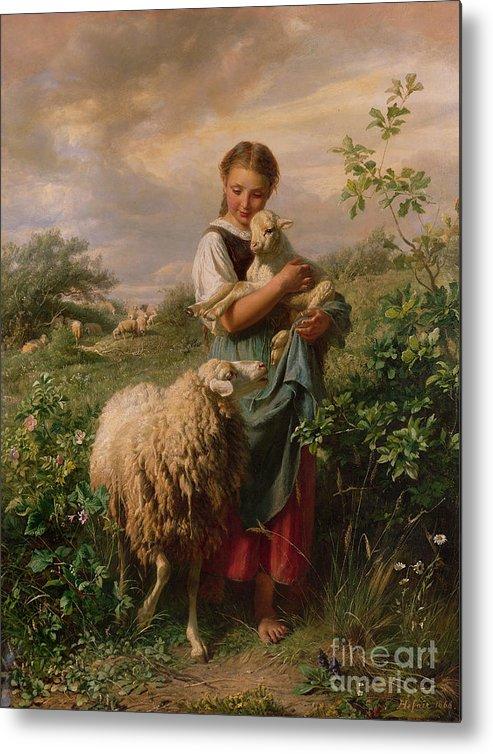 Shepherdess Metal Print featuring the painting The Shepherdess by Johann Baptist Hofner
