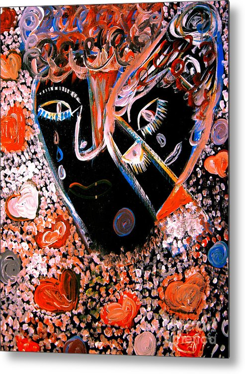 Psychedelic Metal Print featuring the painting This Is Not Love Dear by Safak Tulga