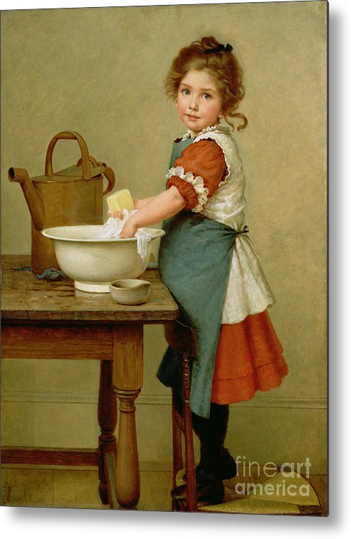 This Is The Way We Wash Our Clothes (oil On Canvas) By George Dunlop Leslie (1835-1921) Learning; Mother; Teaching;child; Washing; Laundry; Girl; Basin; Scrubbing; Chore; Domestic Scene; Soap; Watering Can; Apron; Girl Metal Print featuring the painting This Is The Way We Wash Our Clothes by George Dunlop Leslie