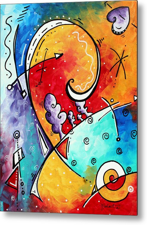 Original Metal Print featuring the painting Tickle My Fancy Original Whimsical Painting by Megan Duncanson