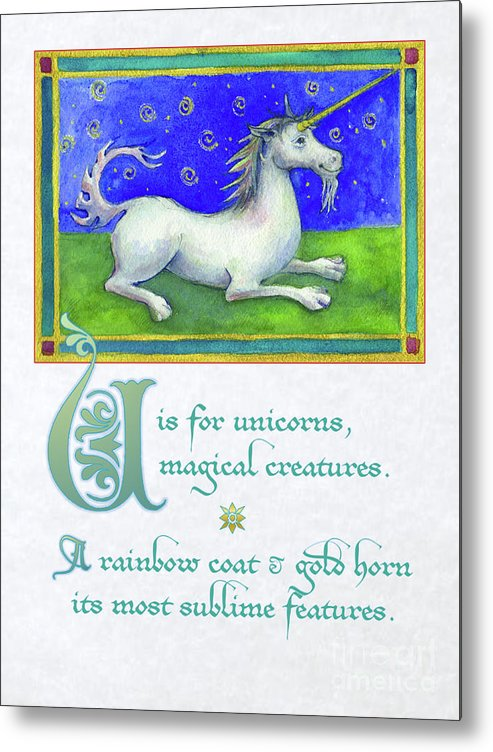 Unicorn Metal Print featuring the digital art U Is For Unicorn by Lora Serra
