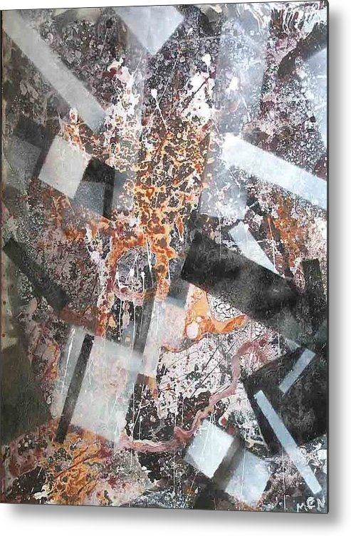 Abstract Metal Print featuring the painting Under Construction by Evguenia Men