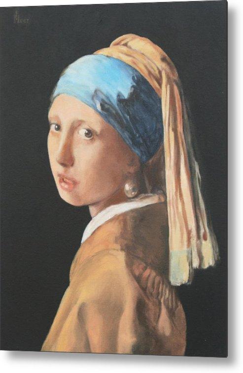 Vermeer Metal Print featuring the painting Vermeerish by Kevin Hopkins