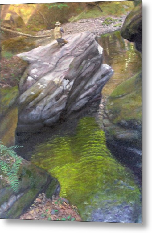 Landscape Metal Print featuring the painting Vermont Fisherman by Laurel Ellis