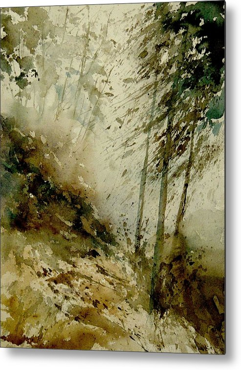 Landscape Metal Print featuring the painting Watercolor Misty Atmosphere by Pol Ledent