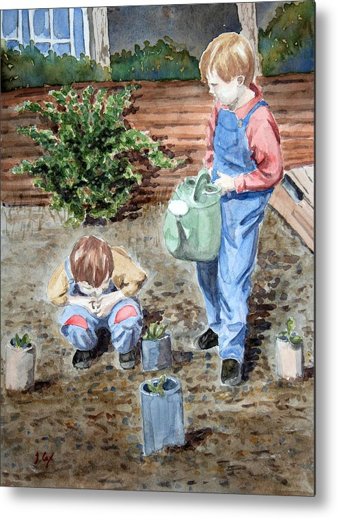 Gardening. Children. Boys. Allotment. Play. Metal Print featuring the painting Watering The Plants by John Cox