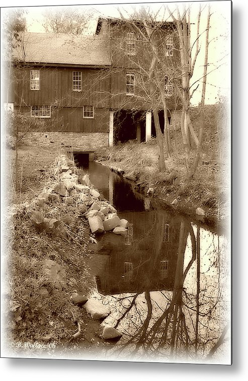 2d Metal Print featuring the photograph Williston Mill - Sepia by Brian Wallace
