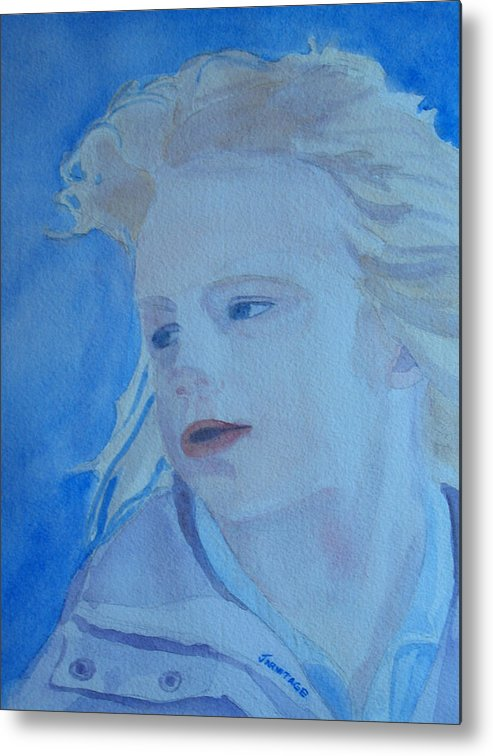 Portrait Portraits Metal Print featuring the painting Windswept by Jenny Armitage
