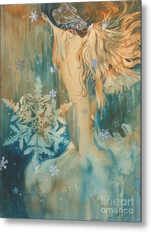 Blue-green Metal Print featuring the painting Winter by Elizabeth Carr