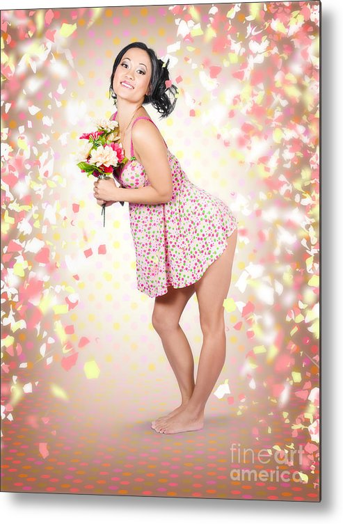 Woman Metal Print featuring the photograph Woman Holding Flowers In Hands. Spring Celebration by Jorgo Photography - Wall Art Gallery