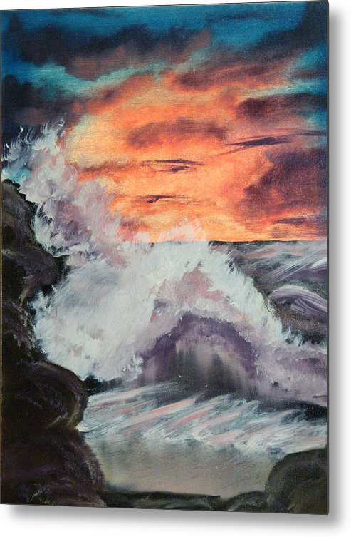 Seascape Metal Print featuring the painting Wrightsville Beach North Carolina by Margaret G Calenda