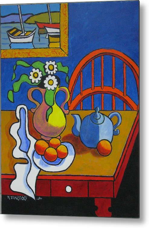Teapot Metal Print featuring the painting Yellow Vase With Blue Teapot by Nicholas Martori