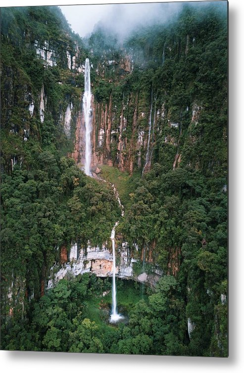 Landscape Metal Print featuring the photograph Yumbilla Waterfall, Amazonas, Peru by Ashwin Atre