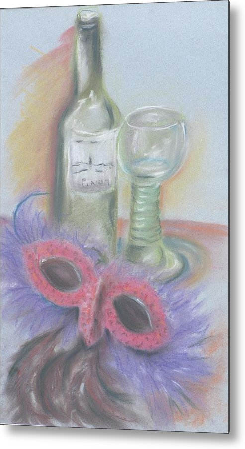Still Life With Mask Metal Print featuring the drawing Carnival by Kathy Mitchell