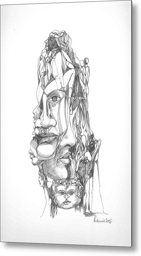 Surreal Metal Print featuring the drawing In Your Head by Padamvir Singh