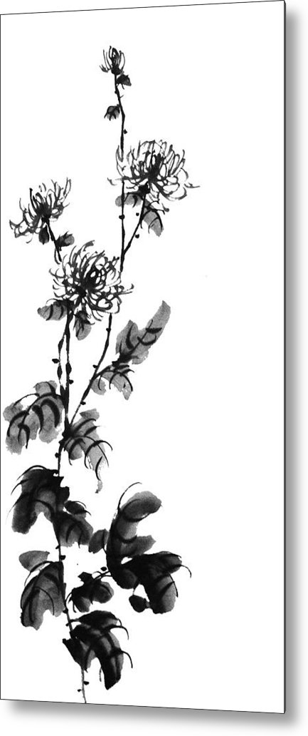 Painting Metal Print featuring the painting Chrysanthemum3 by Chang Lee
