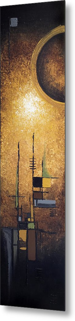 Abstract Metal Print featuring the painting Japanese Moon by Mike Irwin