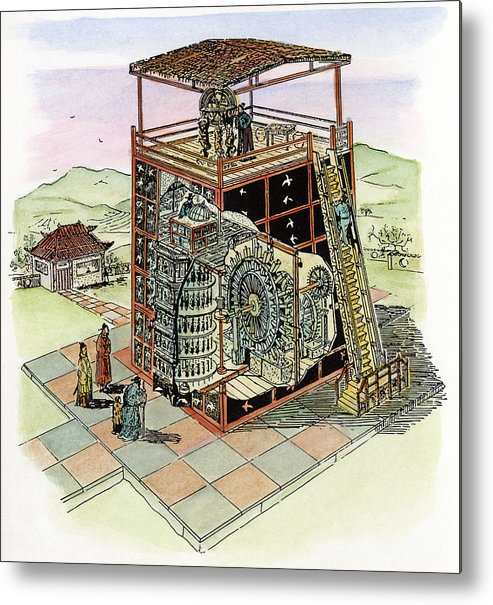 11th Century Metal Print featuring the drawing Chinese Astronomical Clocktower Built by Granger