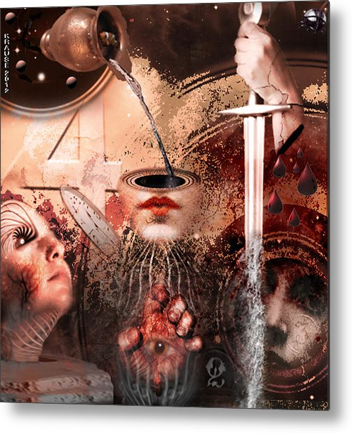 Collage Metal Print featuring the digital art I See Number Four In Beige by Peter Krause