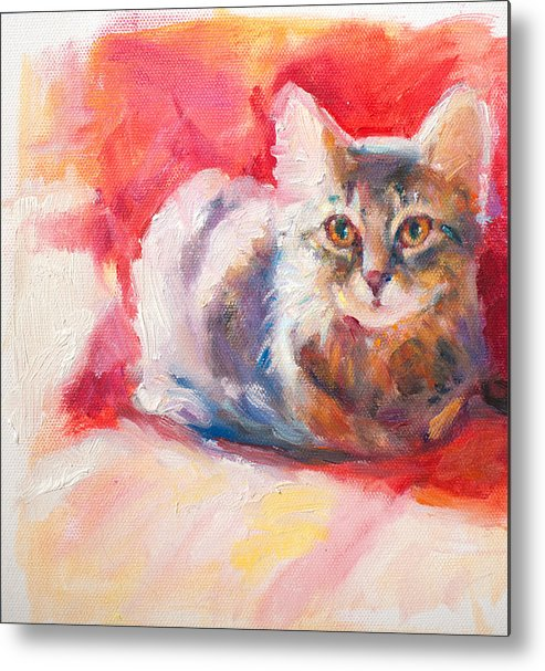 Cat Metal Print featuring the painting Kitten On Red Chair by Sharon Savitz