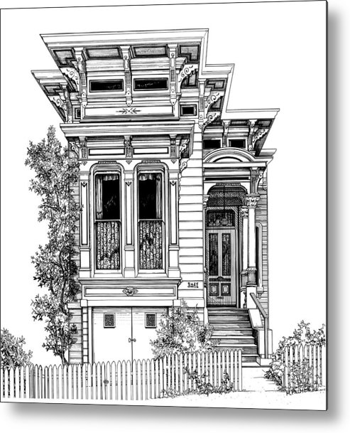 Pen And Ink Metal Print featuring the drawing San Fracisco Victorian2 by Mary Palmer