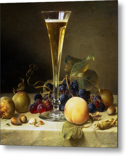 Still; Life; Still-life; Glass; Champagne; Alcohol; Alcoholic; Drink; Drinks; Beverage; Beverages; Fruit; Peach; Plum; Peaches; Plum; Bunch; Grapes; Bunch Of Grapes; Marble; Ledge; Baroque; Dutch Metal Print featuring the painting Still Life With A Glass Of Champagne by Johann Wilhelm Preyer