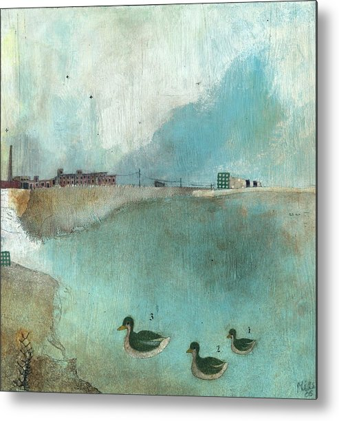 Art Metal Print featuring the painting Talking About Skies by Mils Gan