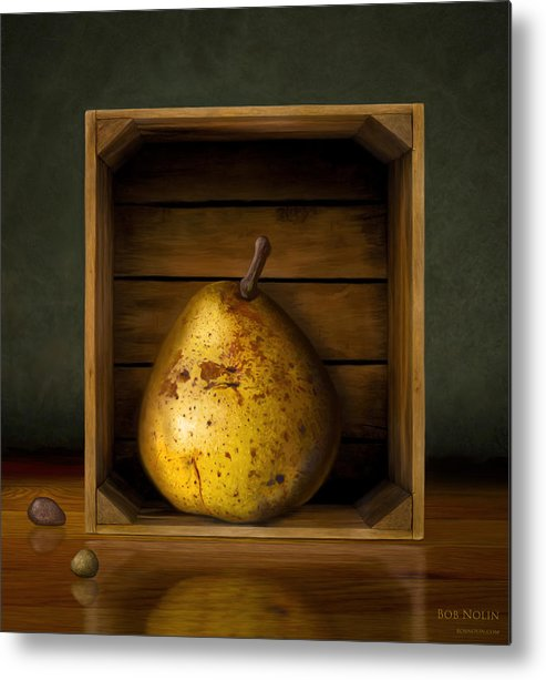 Pear Metal Print featuring the digital art Tribute To Magritte by Bob Nolin