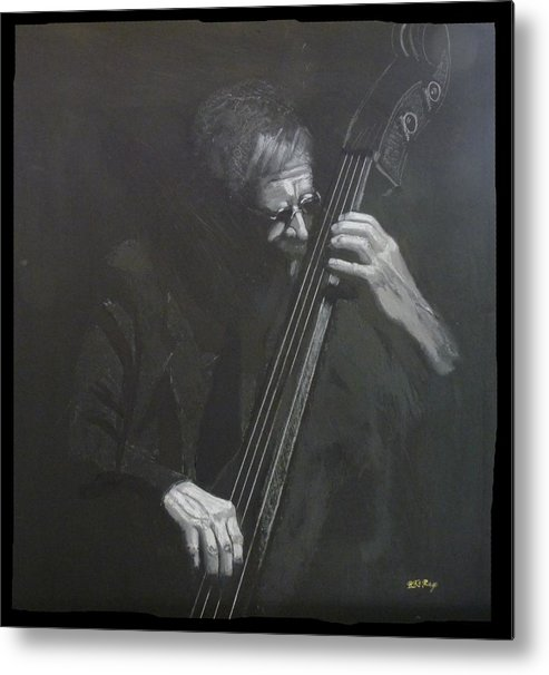 Bass Metal Print featuring the painting Double Bass Player by Richard Le Page