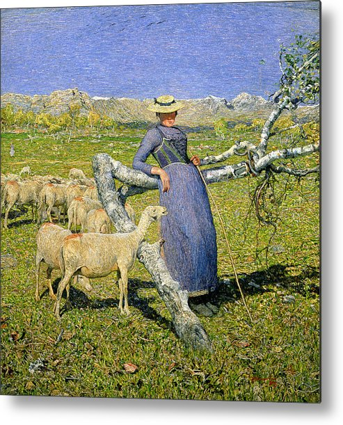 Afternoon In The Alps Metal Print featuring the painting Afternoon In The Alps by Giovanni Segantini