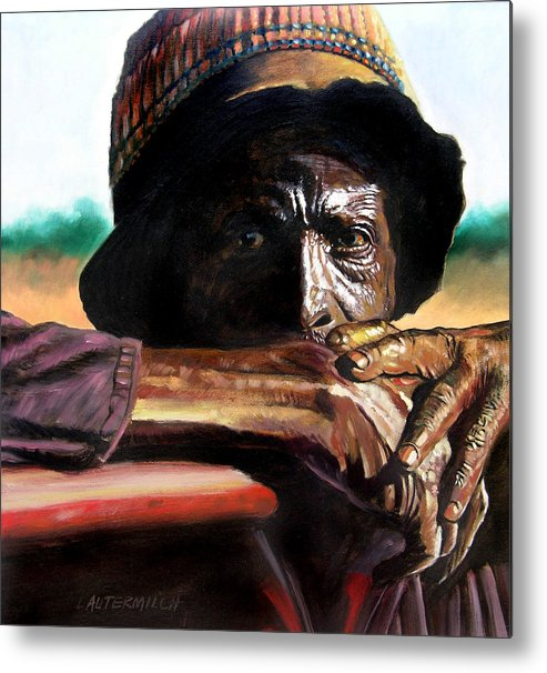 Black Farmer Metal Print featuring the painting Black Farmer by John Lautermilch