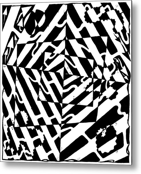 Chaos Metal Print featuring the painting Chaos Maze Optical Illusion by Yonatan Frimer Maze Artist