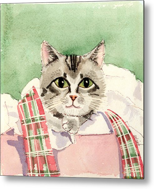 Cat Metal Print featuring the painting Christmas Cat by Arline Wagner