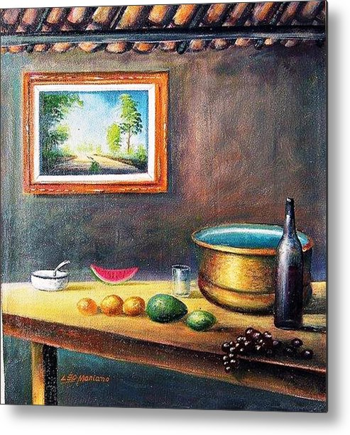 Natureza Morta Metal Print featuring the painting Country House by Leomariano artist BRASIL