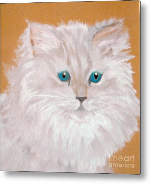 Cat Metal Print featuring the painting Kitty White by Nancy Rucker