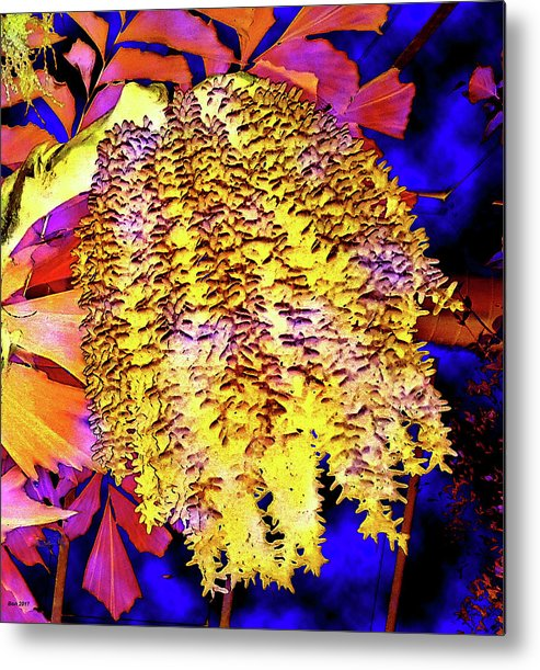 Abstract Metal Print featuring the mixed media Night Bloom by Bonnie Baker